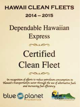 DGX Blue Planet Clean Fleet Certificate
