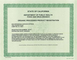 DGX is FDA Organic Processed Products Registered in Los Angeles