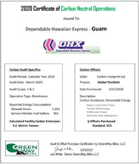 Certificate of Carbon Neutral Operations for Guam