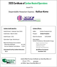 Certificate of Carbon Neutral Operations for Kona
