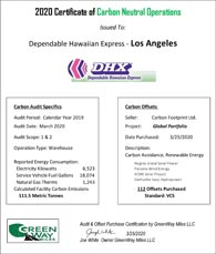 Certificate of Carbon Neutral Operations for Los Angeles